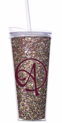 Monogrammed Multi Color Glitter Double Wall 22oz Tumbler with Lid and Straw
