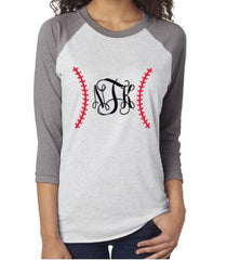 Custom 3/4 Sleeve Unisex Baseball Monogram Raglan Shirt