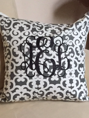 Monogram Pillow Cover Decorative Home Decor You Choose the Cover Pattern/Color, Monogram Style & Color