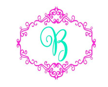 Scroll Border with Ballerina Font Single Letter Monogram Decal