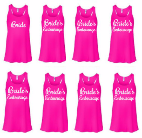 Set Of 8 Bridal Party Shirts Tanks Pick Color Of Shirt Type Color