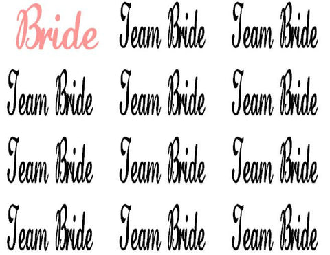 14 Team Bride/1 Bride Decals - Personalize Your Special Day!