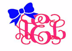 Vine Monogram with Bow Decal for Laptop, Tablet, Notebook, Car - Choose Size - Choose Mono & Bow Color