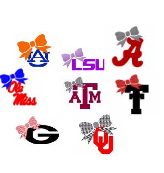 University, College or High School Decal with Pattern Bow School Pride!