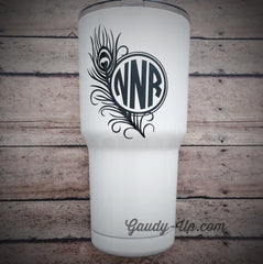 Yeti Tumbler Decal Peacock Feather with Circle Monogram Decal Cup Decal Car Decal Window Decal Notebook Decal