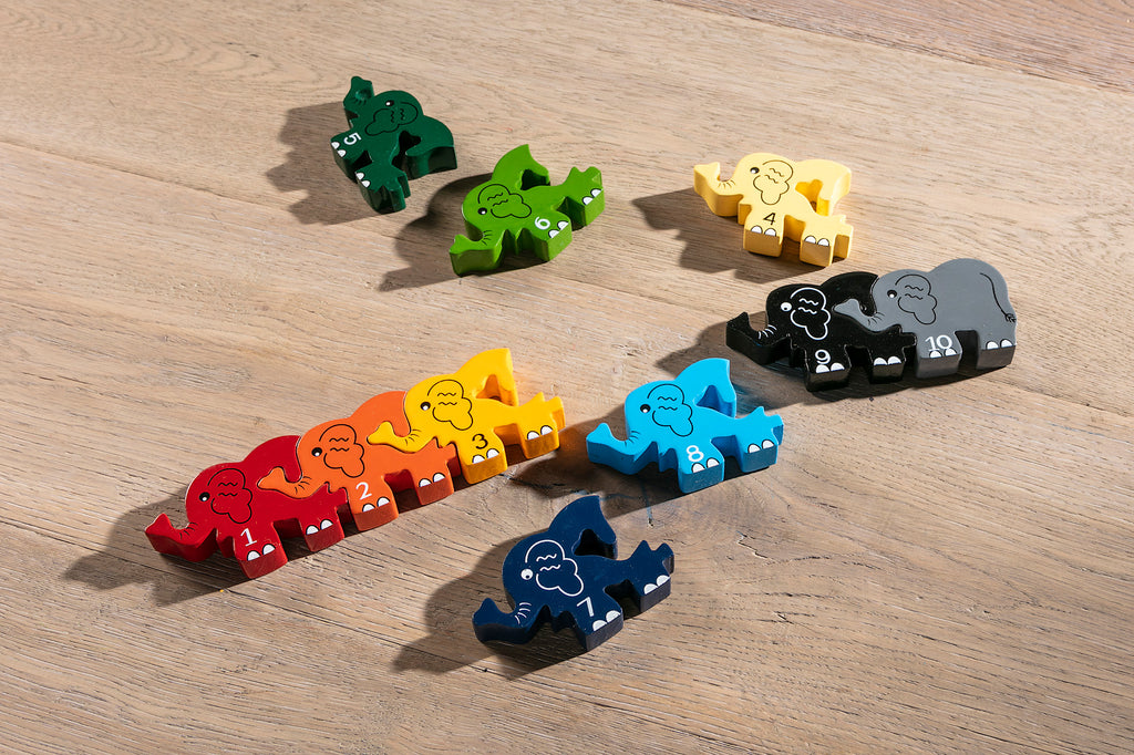 Number Elephant Row Jigsaw Pieces