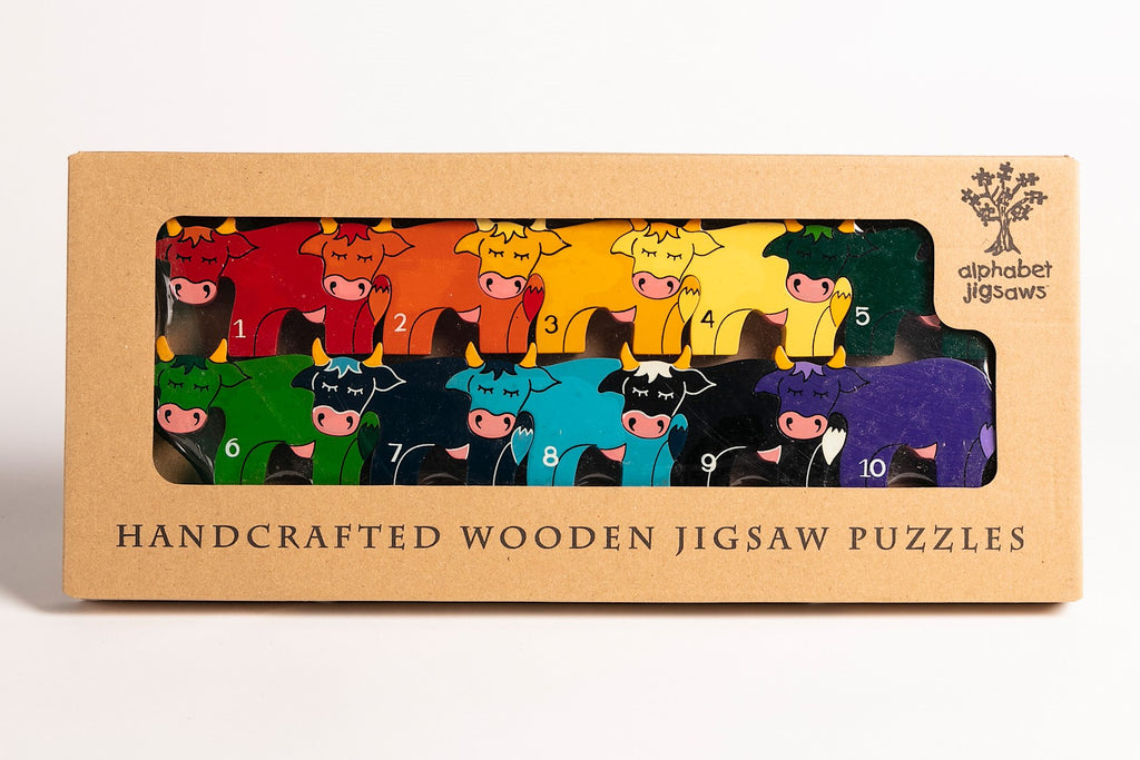 Number Cow Row Jigsaw Puzzle Boxed