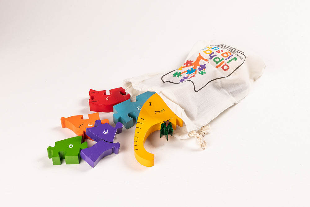 Number Elephant Jigsaw Puzzle Bag