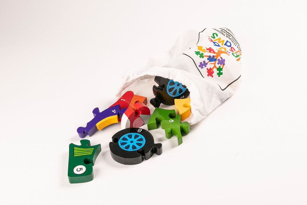 Number Racing Car Jigsaw Puzzle Bag