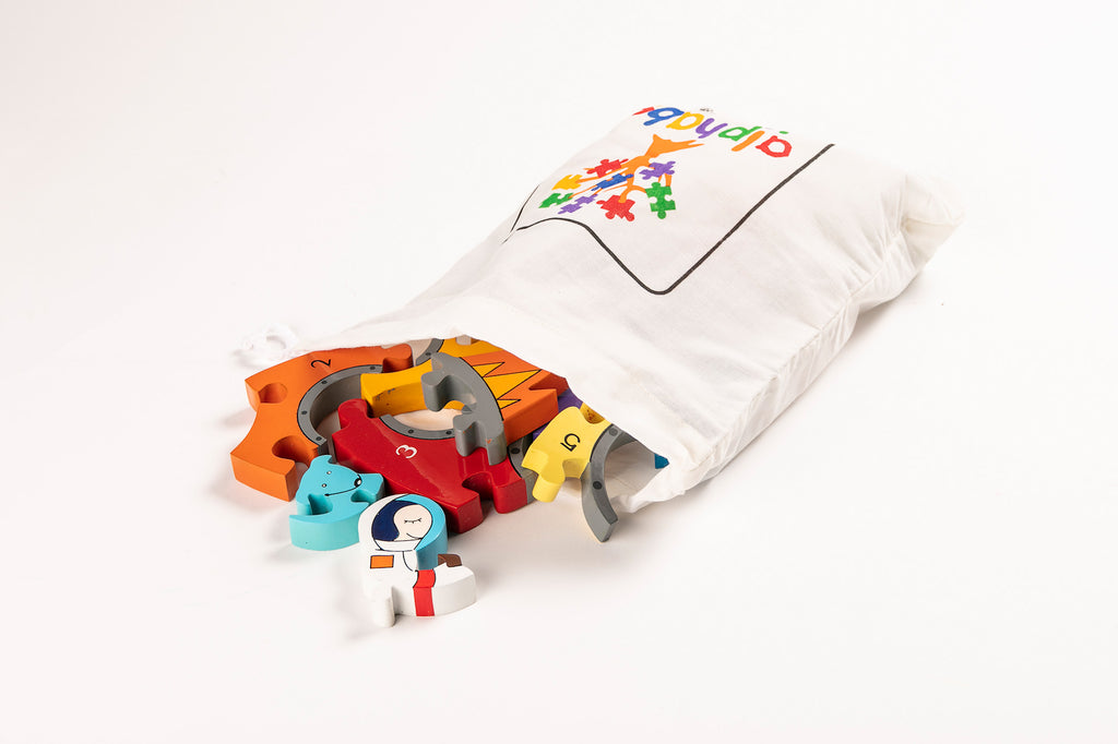 Number Rocket Jigsaw Puzzle Bag