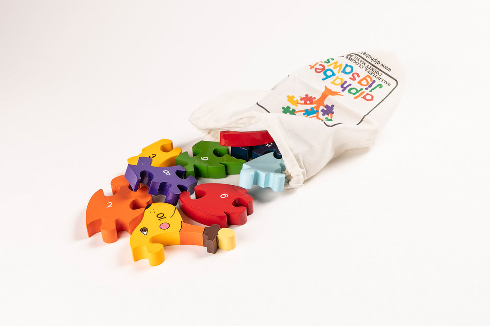Number Dog Jigsaw Puzzle Bag