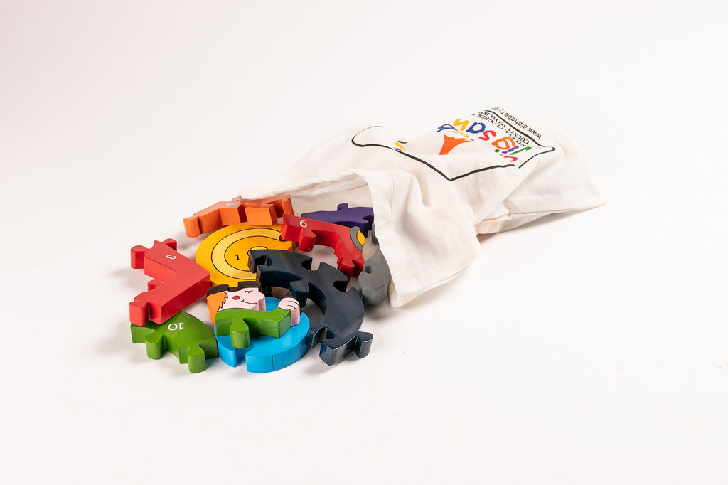 Number Tractor Jigsaw Puzzle Bag