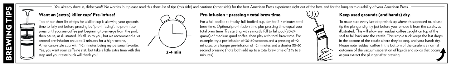 American Press Coffee Maker Brewing Tips