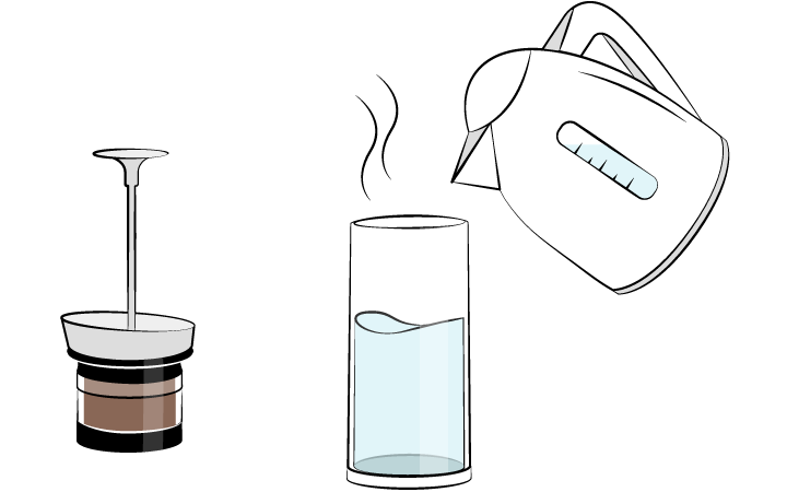 Fill the carafe with hot water