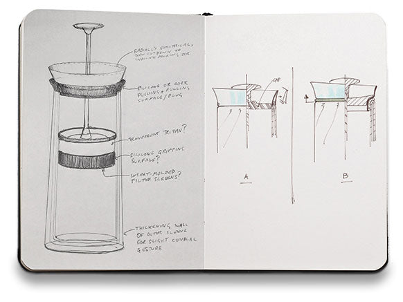 sketchbook illustrating coffee press idea