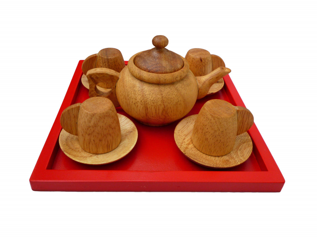 Wooded Tea Set