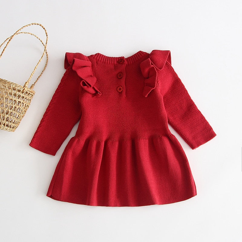 Long Sleeve Baby Girls Sweater Dress