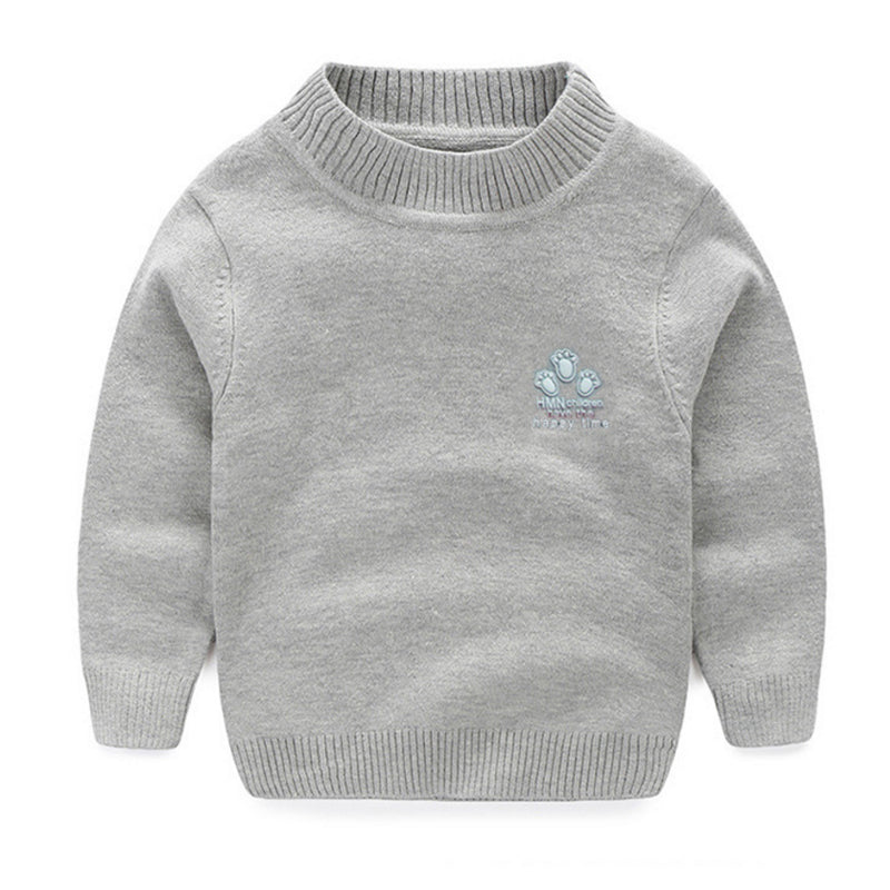 Girls Casual Warm O-Neck Cotton Sweater