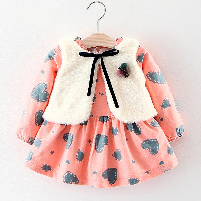 Baby Girls Long Sleeved Faux Fur Vest Dress
