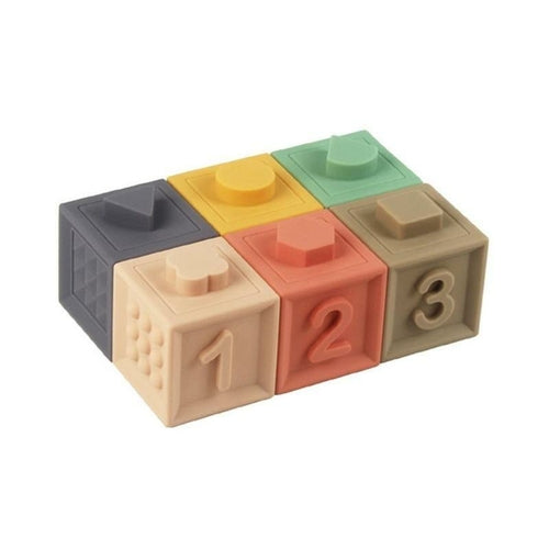 Baby Grasp Toy Soft Rubber Embossed Building Blocks Set 3D