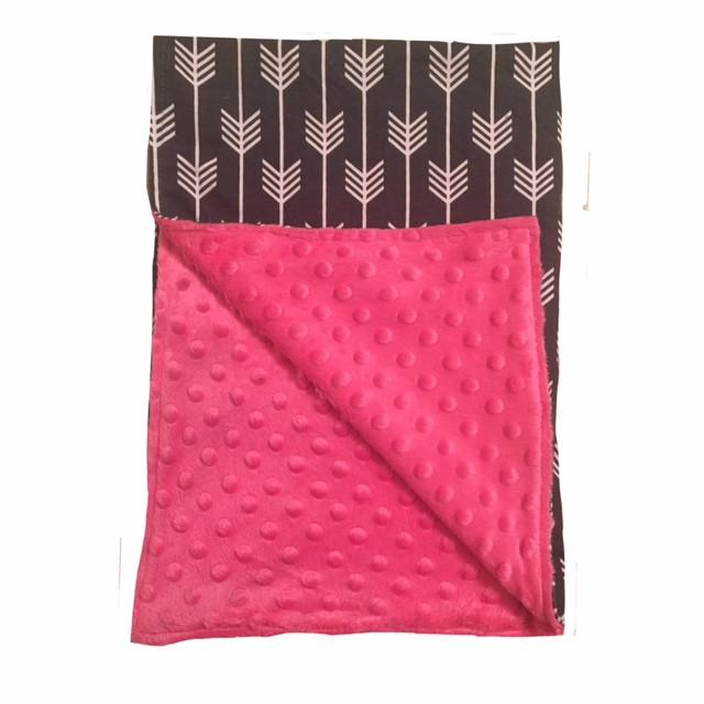 BayB Brand Baby Blanket - Gray Arrow with Hot Pink Blanket BayB Brand