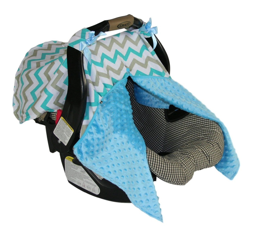 BayB Brand Car Seat Cover - Blue Chevron Car Seat Cover BayB Brand