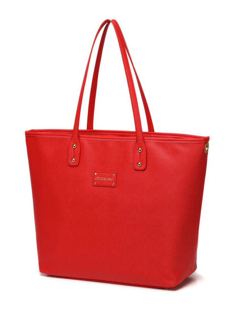 BayB Brand Red Leather Diaper Tote Bag Diaper Bag Colorland