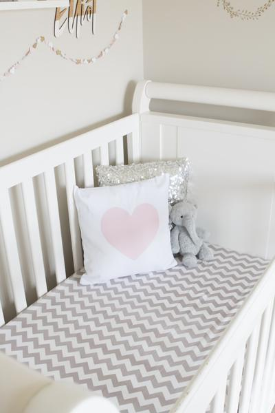Gray Chevron Fitted Crib Sheet Crib Sheet Bambella Designs