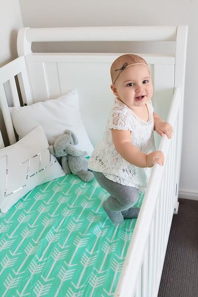 Mint Arrow Fitted Crib Sheet Crib Sheet Bambella Designs