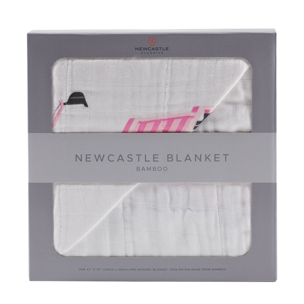 Pink Digger and White Newcastle Blanket Blankets & Pillows Lavender Charlie