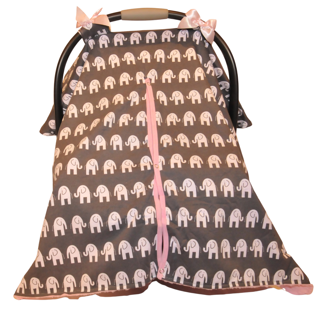 BayB Brand Car Seat Canopy - Elephant with Pink