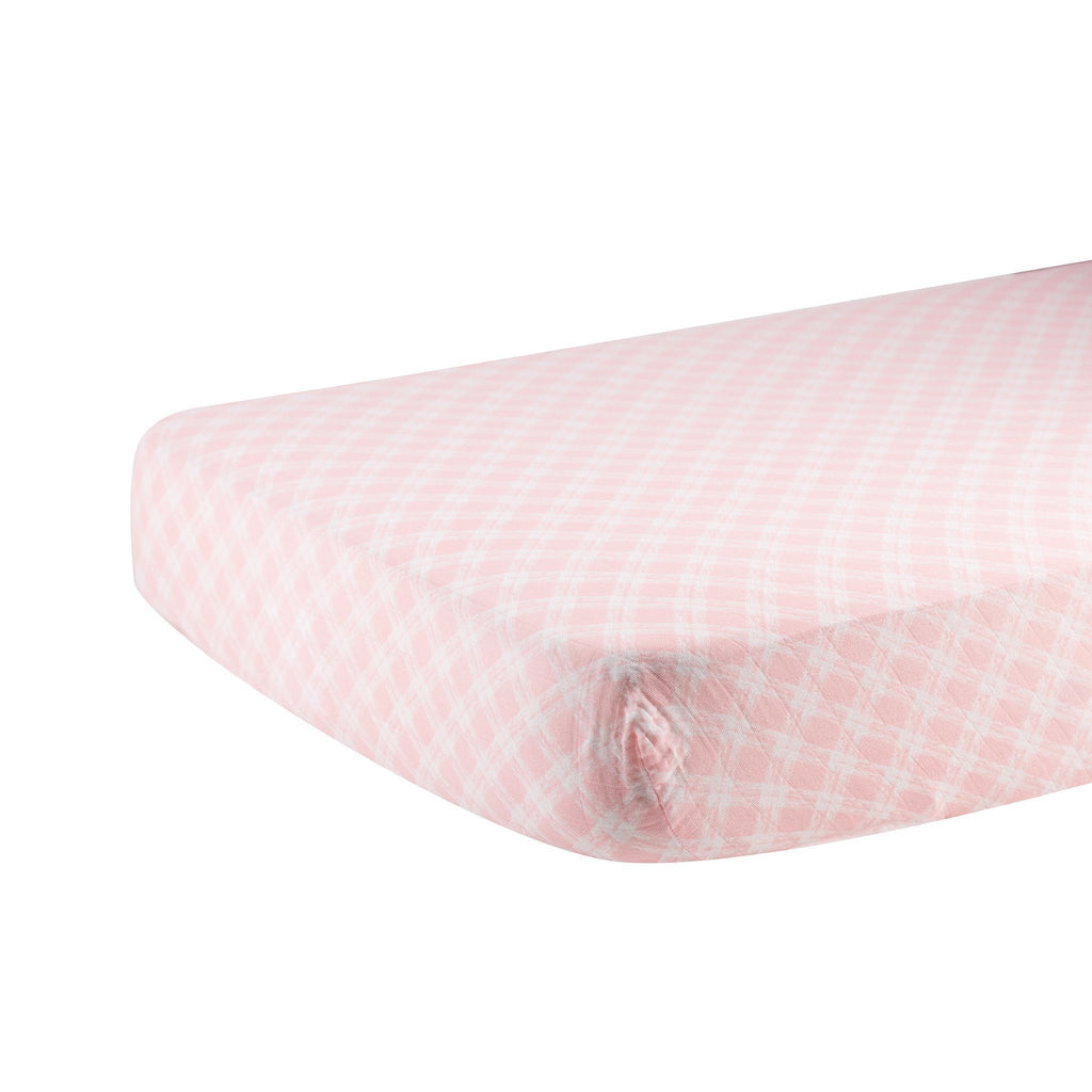 Primrose Pink Plaid Crib Sheet Blankets & Pillows Lavender Charlie