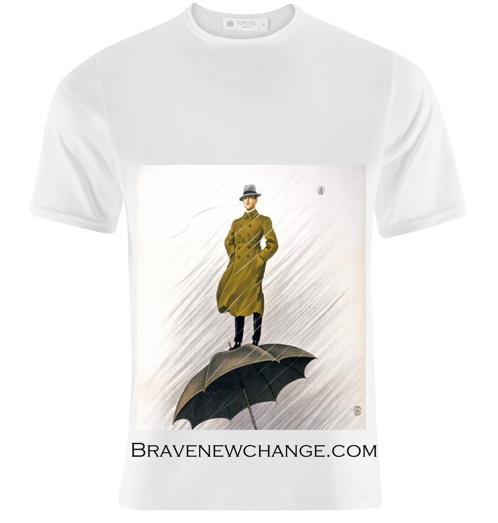 Brave New Change Man atop Climate Change Umbrella T-Shirt