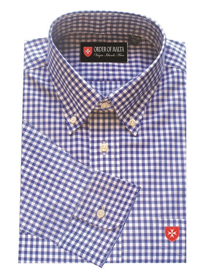 Dress Shirt Classic Blue Gingham Check