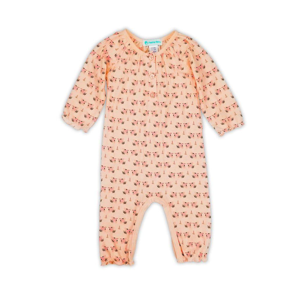 Ruched Romper~ Doves on Coral-Feather Baby