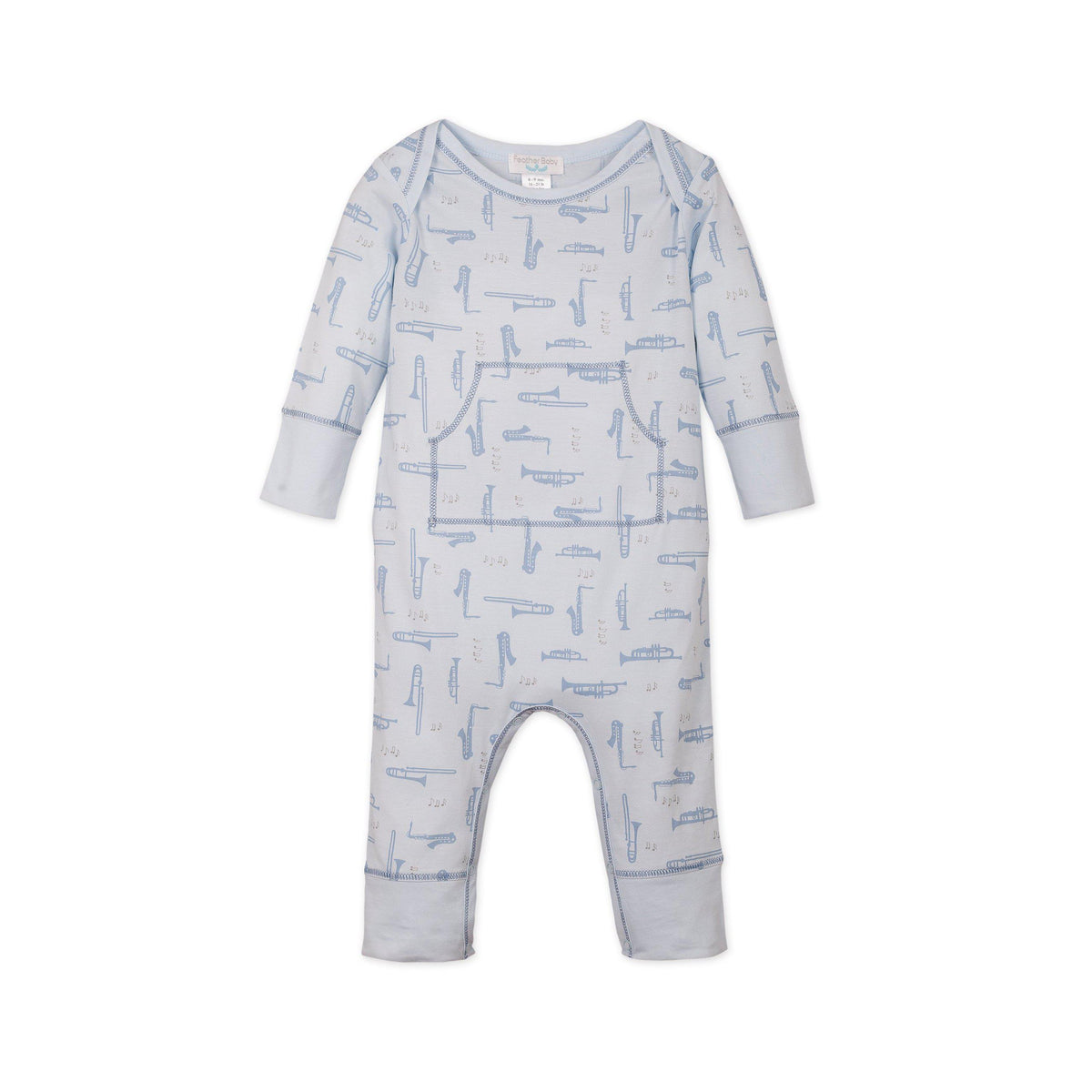 Faux Kangaroo ~ Instruments on Baby Blue-Long Rompers-Soft Pima Cotton-Free Shipping-Baby Gift Wrap-Feather Baby