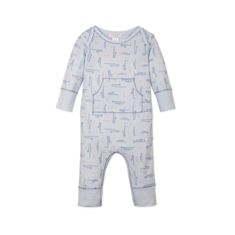 Faux Kangaroo ~ Instruments on Baby Blue-Long Rompers-Free Shipping-Pima Cotton-Gift Wrap-Feather Baby