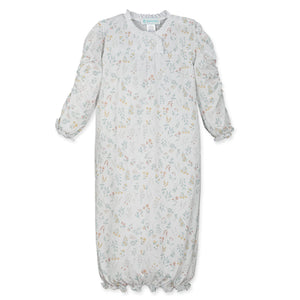 Scrunch-Arm Gown - Evelyn Floral on White
