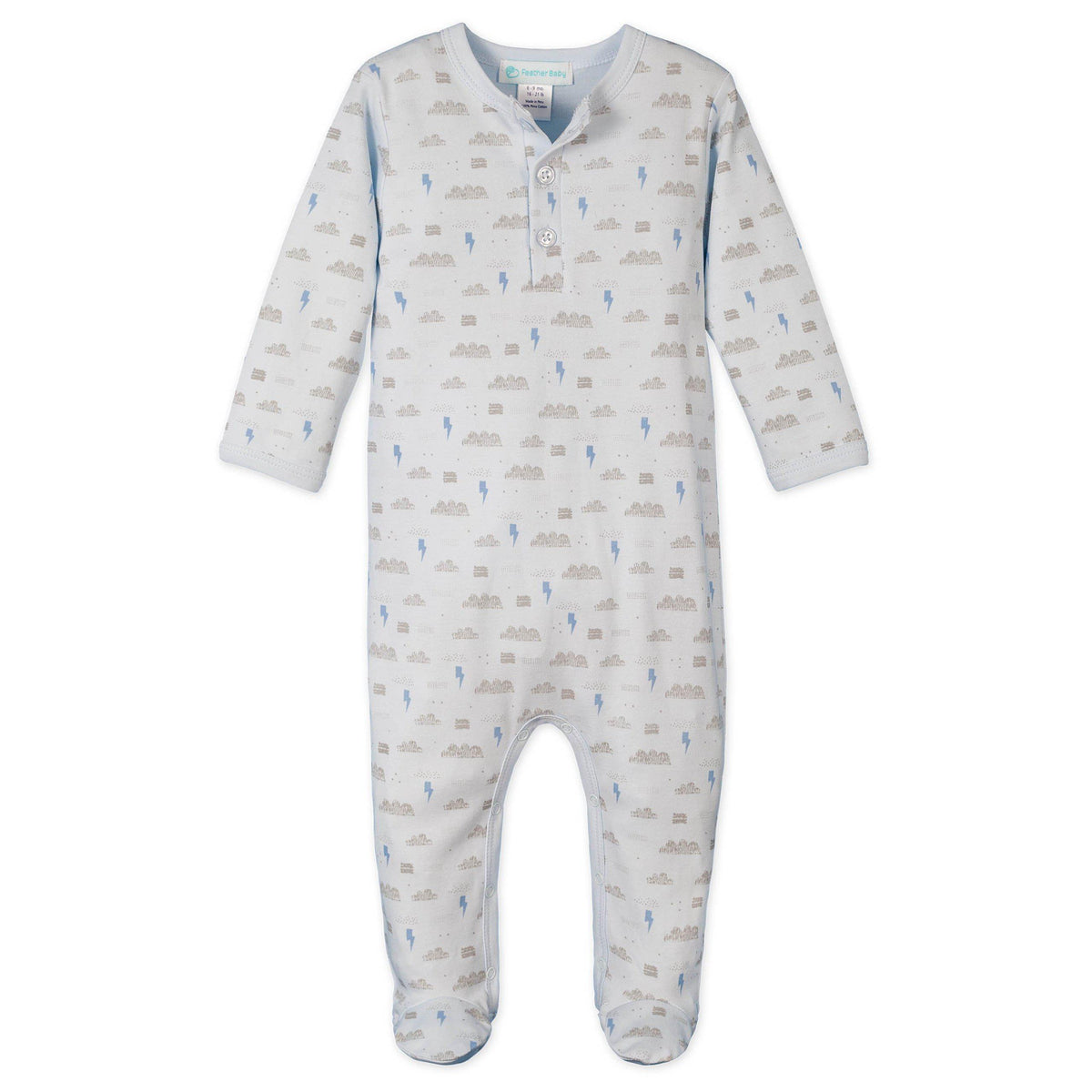 Henley Footie ~ Stormy Sky - on Baby Blue-Feather Baby-Footies-0-3 Months or 7-11 lb-Free Shipping-Gift Wrap-Pima Cotton