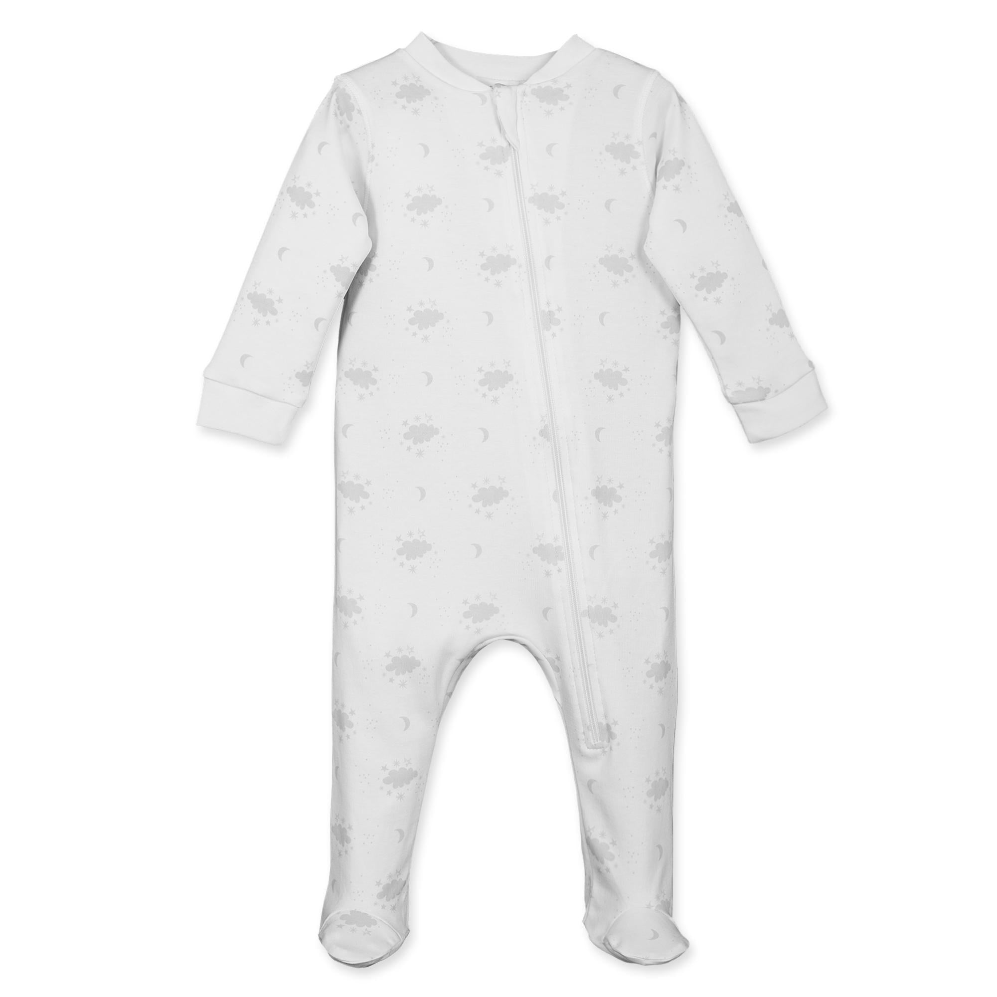 920F Zipper Footie ~ Night Sky on White-Footies-Feather Baby-Free Shipping-Gift Wrap-Pima Cotton