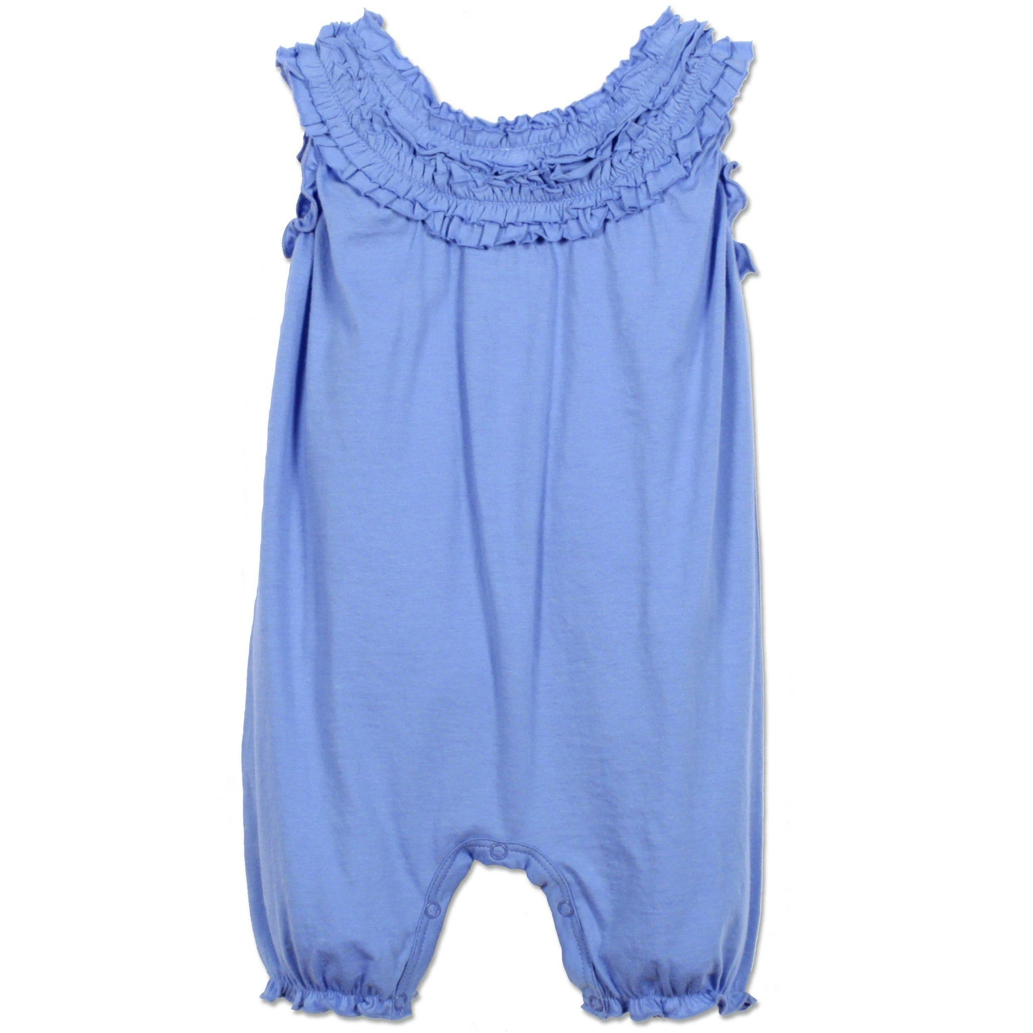 Double-Ruffle Romper ~ Solid Blue-Girls Short Rompers-Feather Baby-Kissy-Pima-Organic-Gift-Free_Shipping