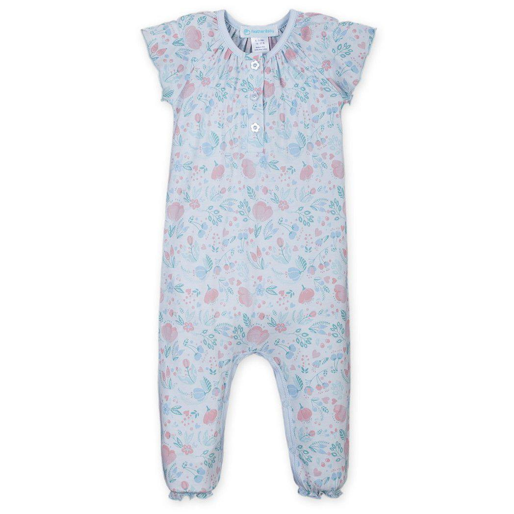 Ruched Romper ~ Caroline Floral on Baby Blue-Long Rompers-Feather Baby-Kissy-Pima-Organic-Gift-Free_Shipping