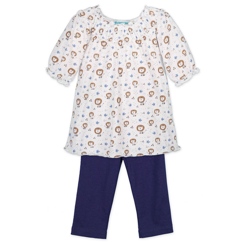 Ruched Tunic Set ~ Lions on White-2-Piece Sets-Free Shipping-Pima Cotton-Gift Wrap-Feather Baby