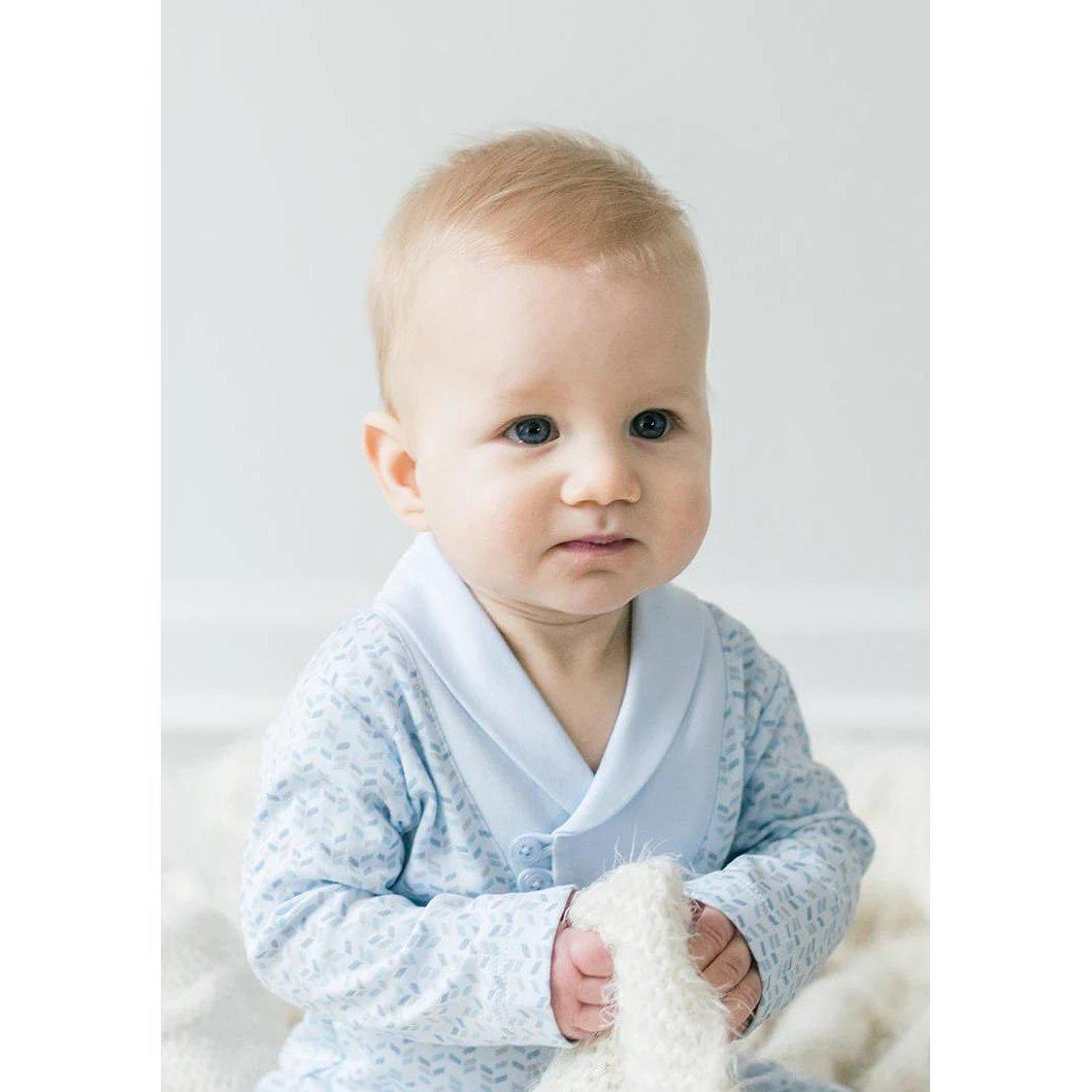 Shawl-Neck Romper ~ Herringbone on Baby Blue-Long Rompers-Free Shipping-Pima Cotton-Gift Wrap-Feather Baby