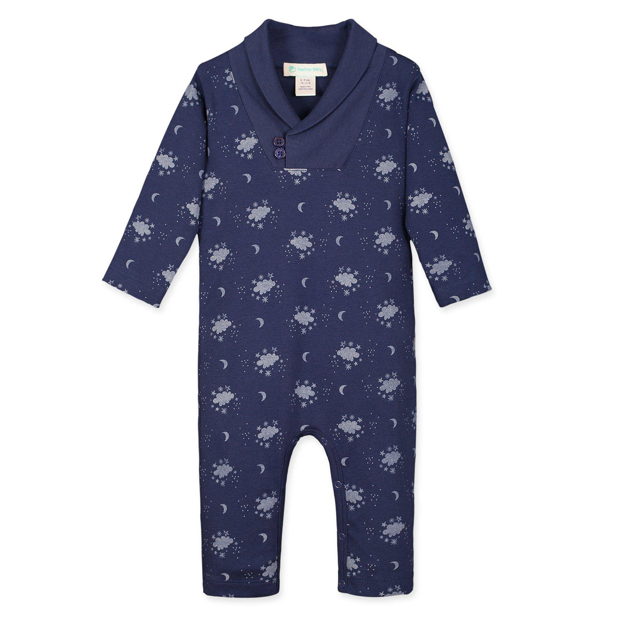 Shawl-Neck Romper ~ Night Sky on Indigo-Long Rompers-Feather Baby-Kissy-Pima-Organic-Gift-Free_Shipping