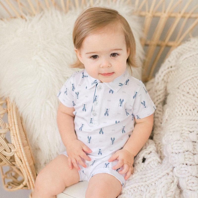 Collared Romper ~ Lobsters - Blue on White