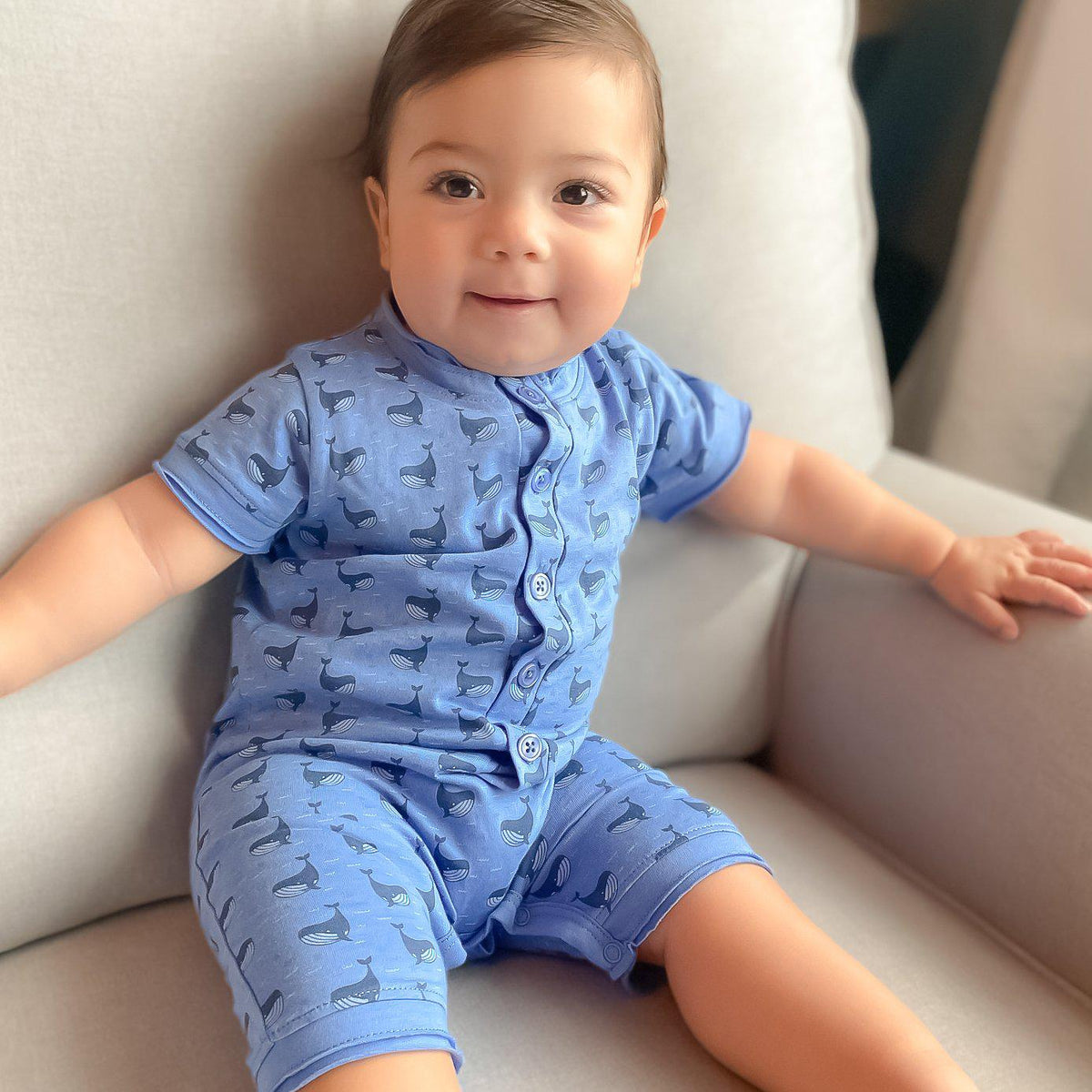 Henley Romper ~ Fin Whale on Blue