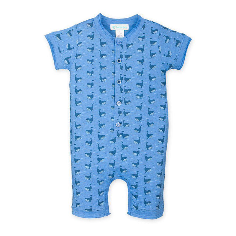 Henley Romper ~ Fin Whale on Blue-Short Rompers-Feather Baby-Kissy-Pima-Organic-Gift-Free_Shipping