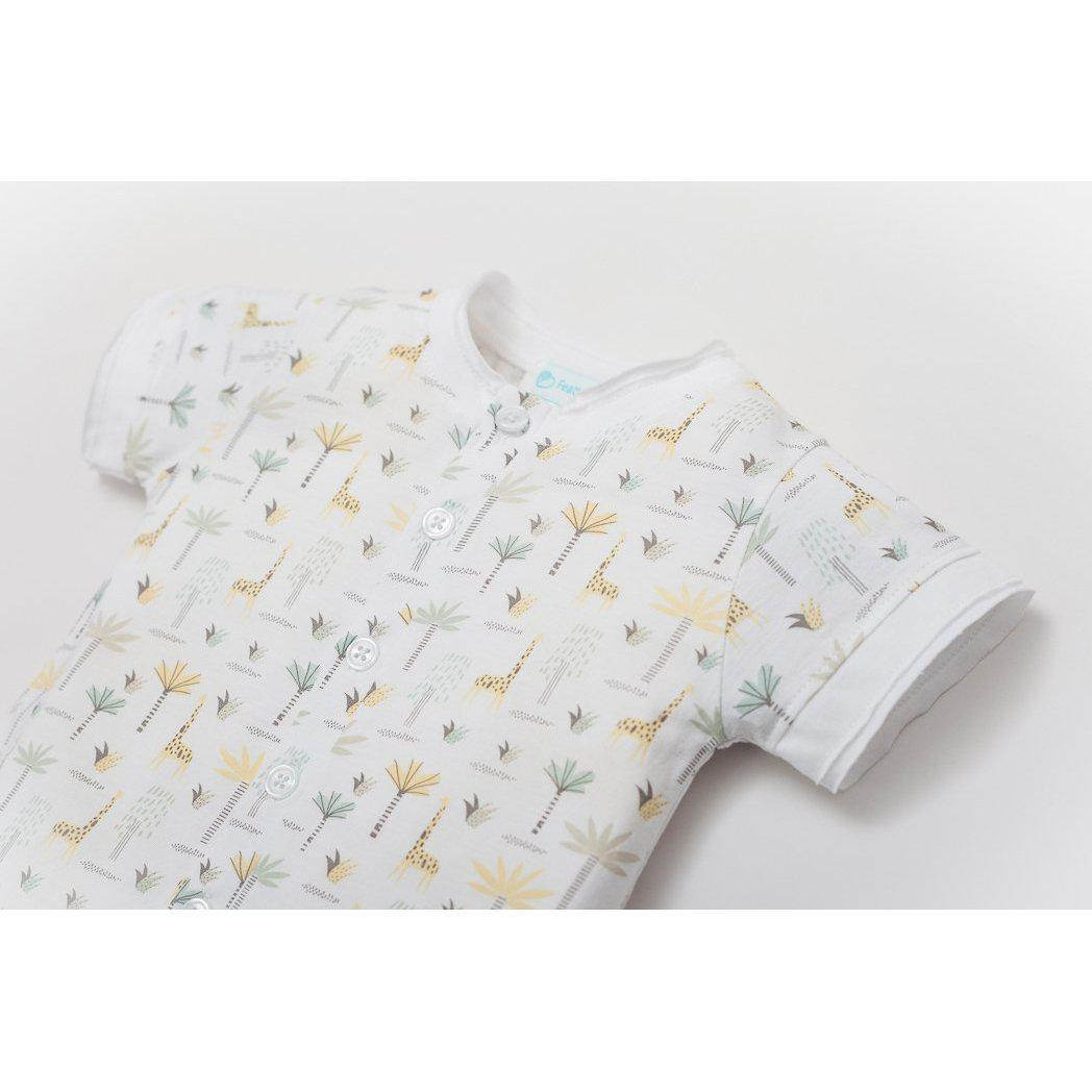 Henley Romper ~ Palms & Giraffes on White