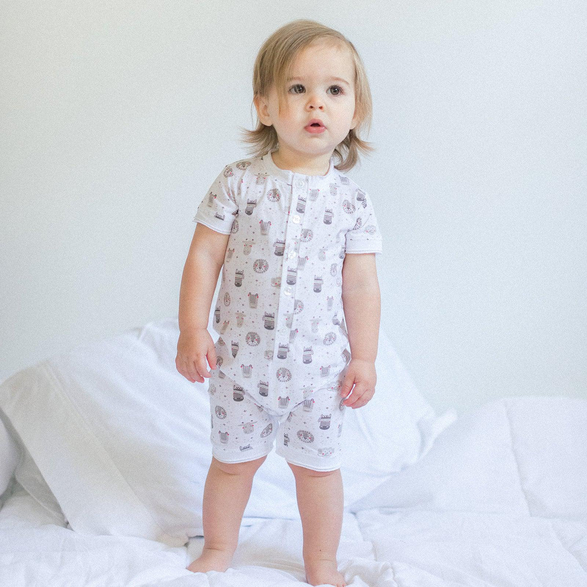 Henley Romper ~ Safari on White-Short Rompers-Feather Baby-Kissy-Pima-Organic-Gift-Free_Shipping